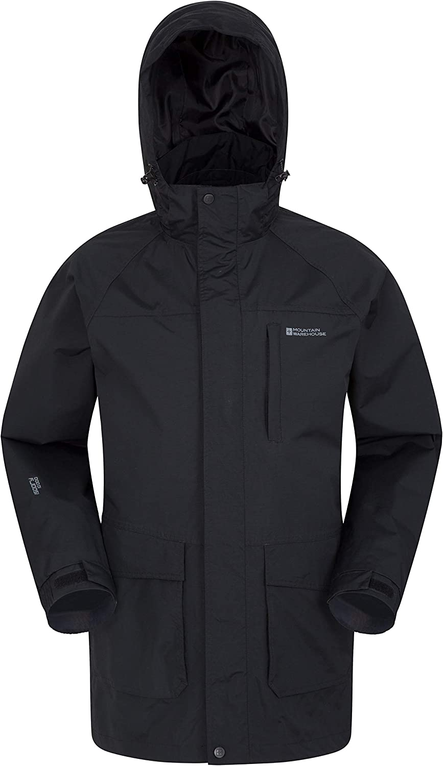 Quick Drying Coat -for Travelling Black X-Small Mountain Warehouse Glacier II Long Mens Waterproof Jacket Breathable Winter Jacket Taped Seams Rain Coat Detachable Hood