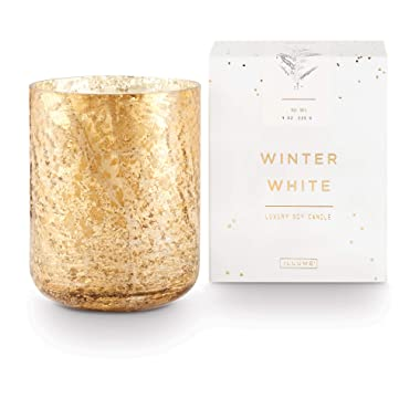 Illume Noble Holiday Collection Winter White Small Luxe Box Sanded Mercury Glass, 9 oz Candle