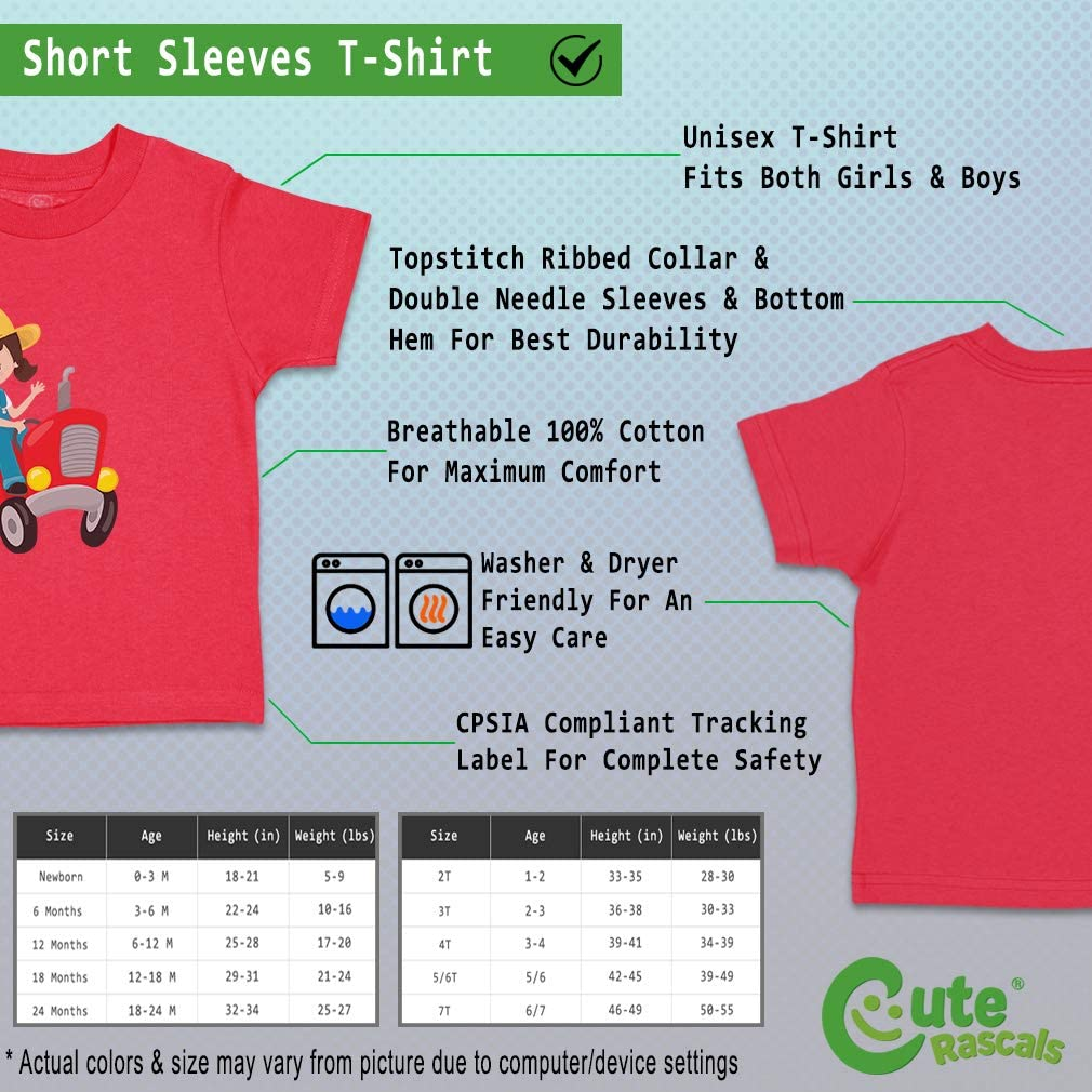 Custom Baby /& Toddler T-Shirt Girl Red Tractor Brown Cotton Boy Girl Clothes
