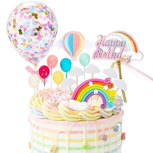 Drcurn Rainbow - Decoración para tarta de cumpleaños con ...