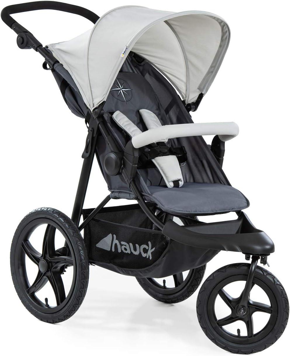 Hauck Runner - Silla de paseo con 3 ruedas neumaticas, plegado compacto, ruedas XL con camara de aire, para recien nacidos y, apto hasta 25kg, gris