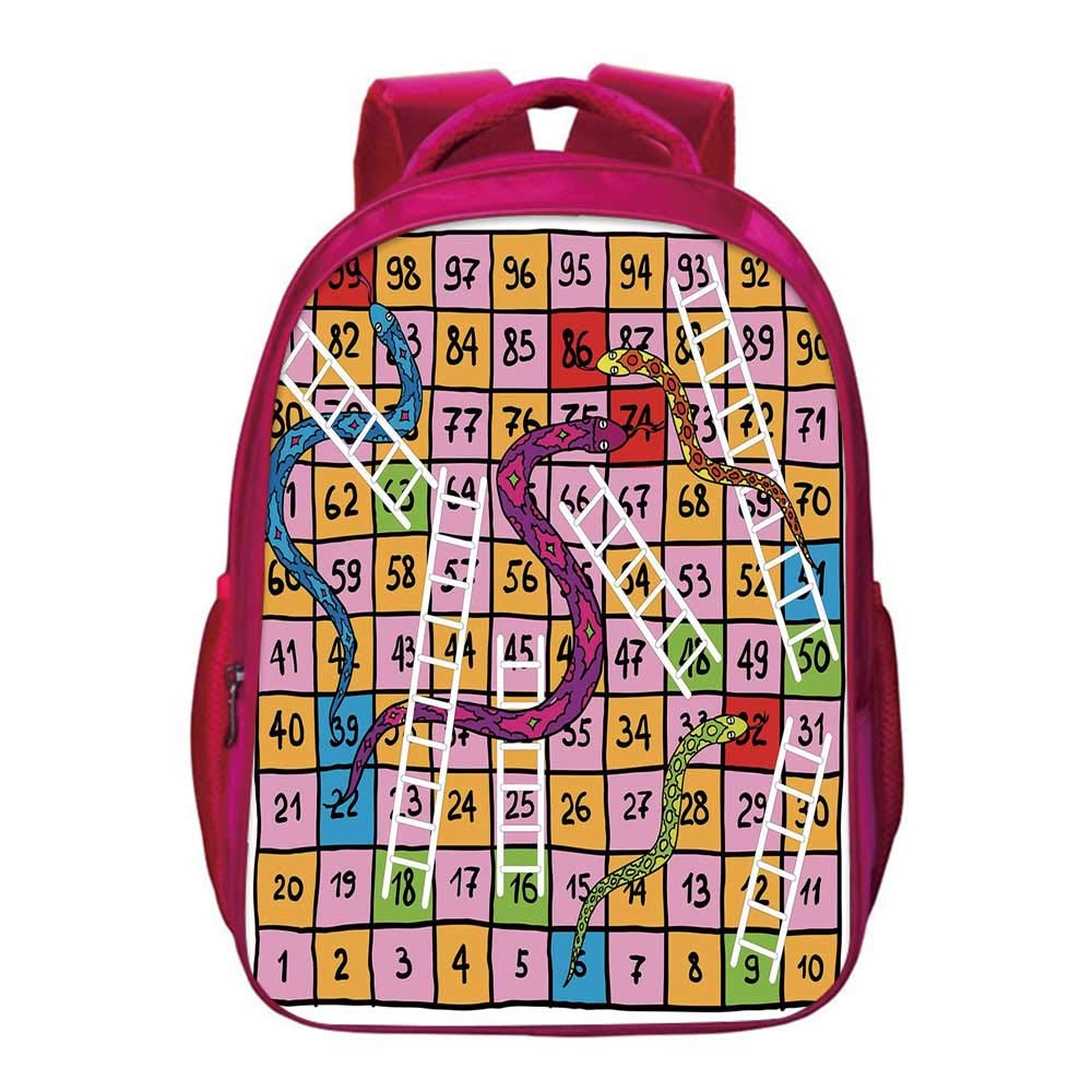 Board Game Printing Backpack,Snakes with Ornate Details White Ladders Hand Drawn Squares Numbers Luck Move for Kids Girls,11.8''Lx6.3''Wx15.7''H by YOLIYANA