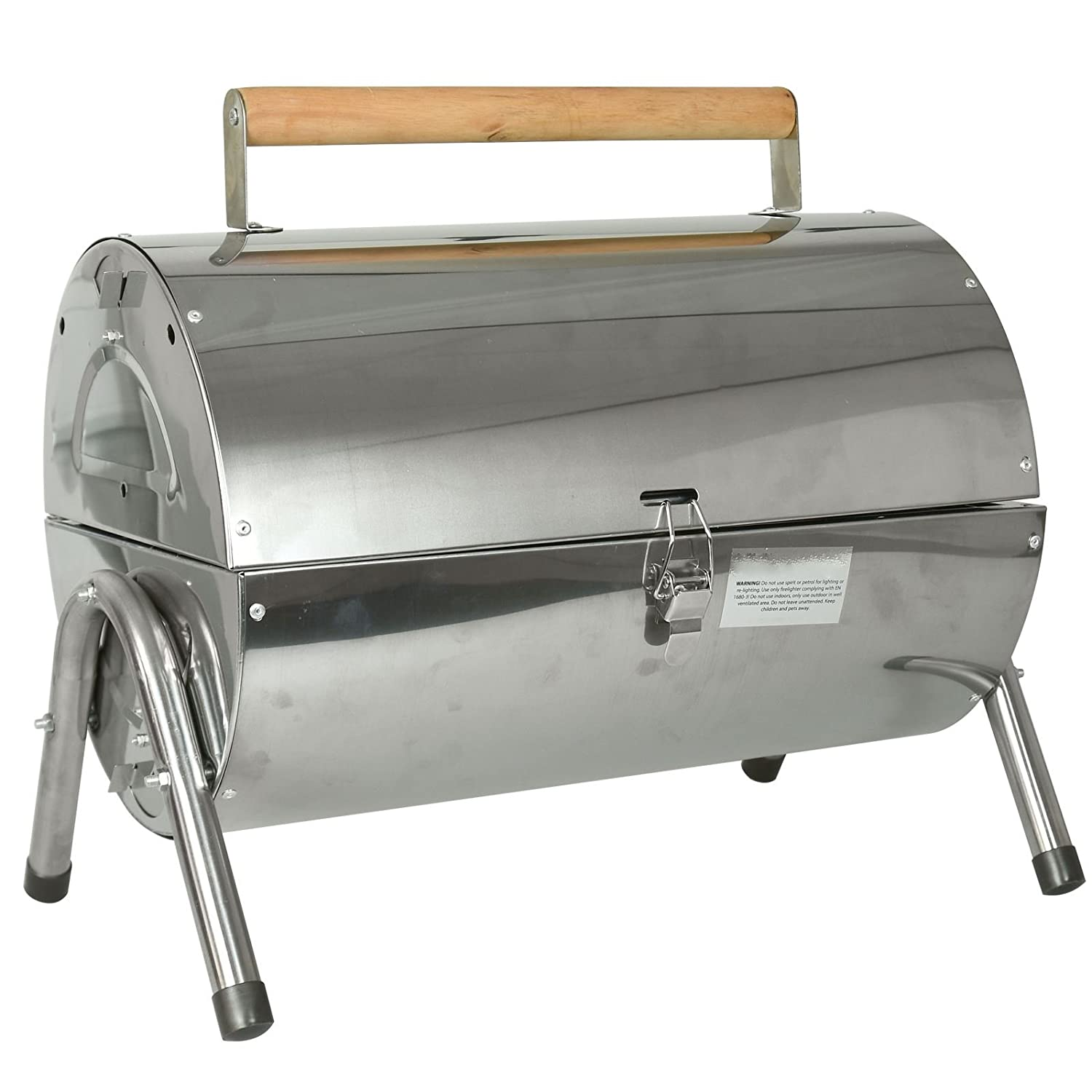 Outdoor Camping Table Top Picnic Portable Stainless Steel Barrel BBQ Charcoal Fire Barbecue Pit Table Top 2 Separate Grills With Side Vents And Clip Lock