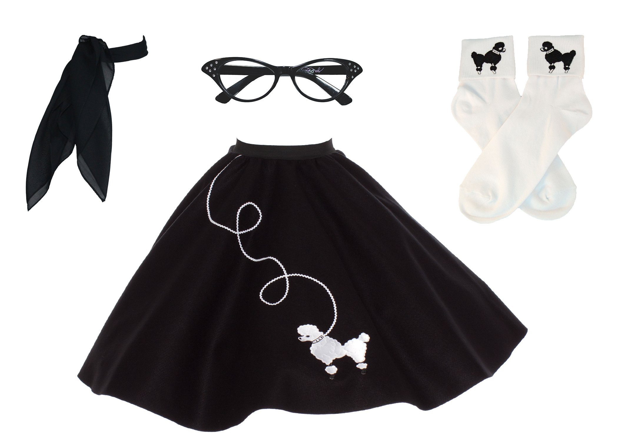 Hip Hop 50s Shop Adult 4 Piece Poodle Skirt Costume Set Black and White 3XLarge/4XLarge