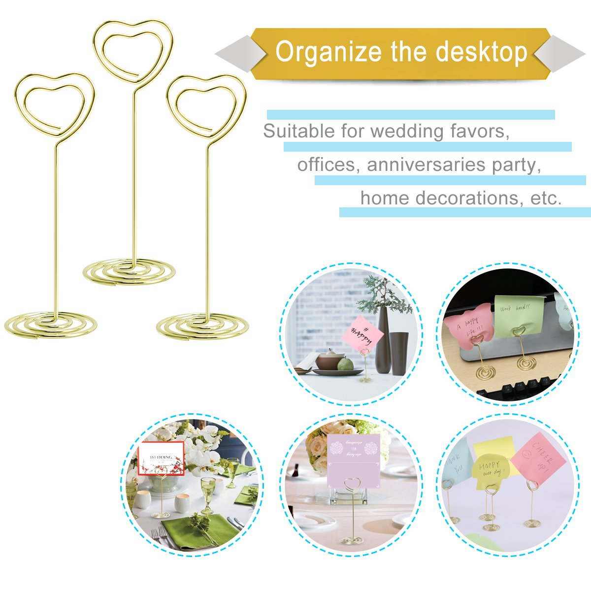 Table Photo Holder - Aieve 24 Pack Love Heart Shape Table Number Holders Place Card Holders Menu Clips Holders Stand for Wedding Party Gatherings Office Desk Memo Menu Table Photo Clips(Gold) by Aieve (Image #5)