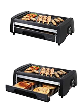 2 in1 Barbacoa Eléctrica y mini horno de pan - Multi Grill Autobús (superficie de parrilla doble, Lucha desmontable, parrilla, camping, barbacoa, ...