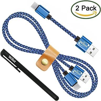 wilist 2 Pack alta velocidad nailon trenzado Cable USB largo y corto para Smartphone: Amazon.es: Electrónica
