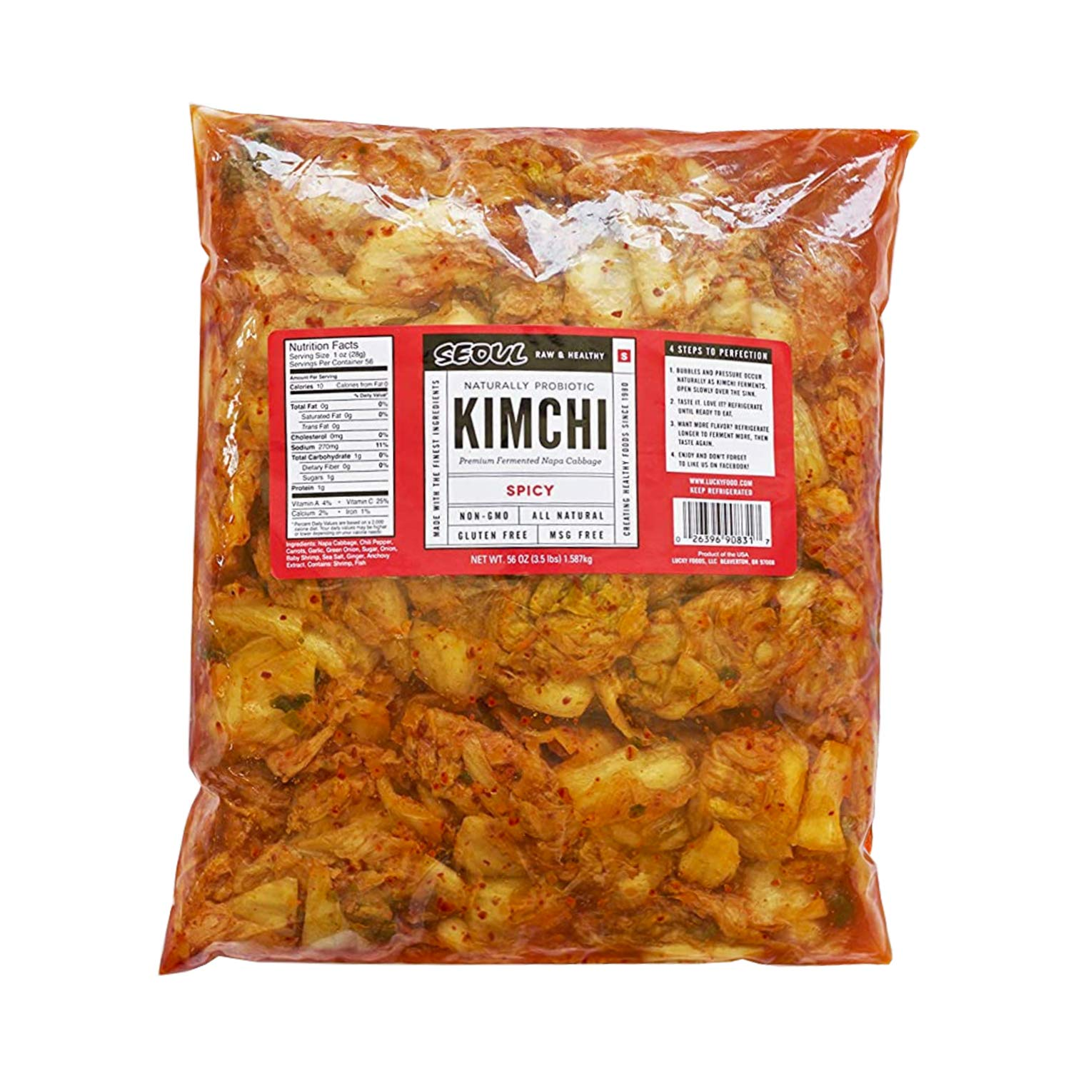 Lucky Foods Seoul Kimchi (Pack of 1) Authentic Made to Order Korean Kimchi (Spicy Original, 56 oz) Gluten-Free