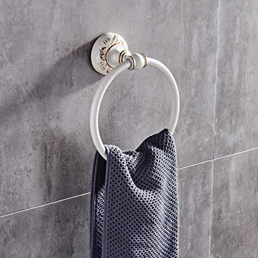 WEIUTY Anillo de Toalla Redondo Blanco de Marfil de Aluminio Europeo Tallado Metal Colgante Anillo de Toalla ToalleroMarco Toallero Estante