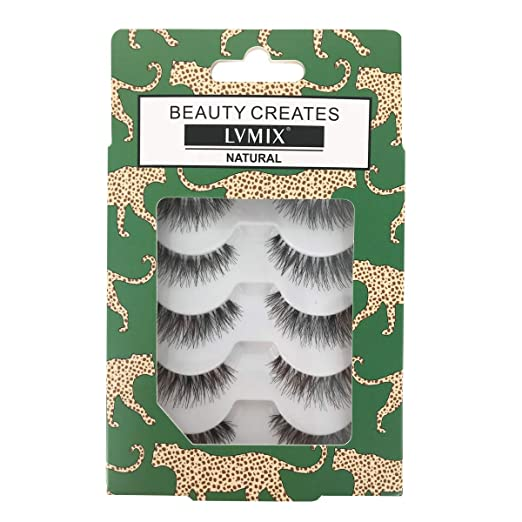LVMIX Fake Eyelashes Natural False Lashes Reusable 100% Handmade (5 Pairs) best fake eyelashes