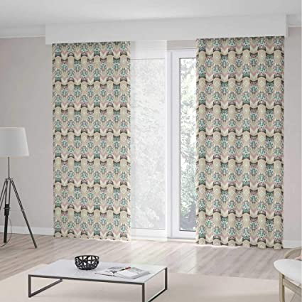 Owls Room Decor Curtains,Cute Pattern Native An Geometric Ornaments  Horizontal Zigzag Lines Decorative,