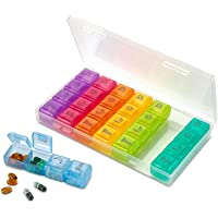 MEDca Weekly Pill Organizer - 4 Compartment Am/pm Pill Box, 7 Day Large Travel Medication Dispenser Case for Vitamins…