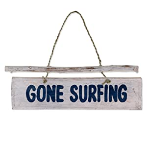NOVICA Hand Carved Albesia Wood Beach Cottage Nautical Garden Sign with Agel Grass Cord, 'Gone Surfing'