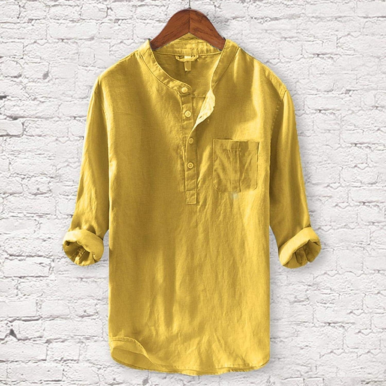 VICGREY Camicia Uomo Lino Coreana Uomo Casual Camicie Stretch Camicie Uomo Manica Lunga Tinta Unita Camicie Slim Fit Uomo Magliette Maniche Lunga Traspirante T Shirt Camicetta Felpa Pulover Tops