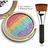 Travelmall Rainbow Cake Eye Shadow Shimmer Eye Facial Makeup Comestic Kit Maquiagem Contour Eyeshadow Blusher Makeup Rainbow Pigments Eyeshadow Palette Highlighter & One matching makeup brush