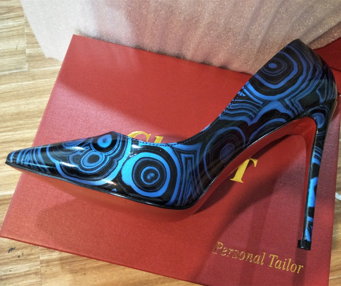 Chris-T Womens Formal Pointed Toe Pumps Basic Shoes High On Heel Stilettos Sexy Slip On High Dress Shoes Size 4-15 US B07DCM9MGS 11 B(M) US|Blue Patternt/Red B0tt*m cedc9b