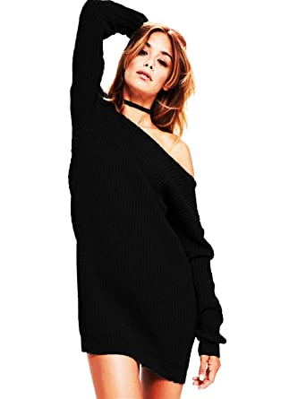 ebf20a862276 SA Fashions® AI Elegant Ladies Cable Knitted Bodycon Off Shoulder Baggy  Oversized Chunky Sweater Jumper Celebrity Designer Top Dress  Amazon.co.uk   Clothing