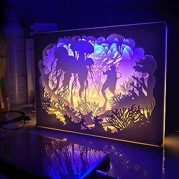 Papercut Light Box 3D Shadow Led Night Lamp Creative Paintings Decorative