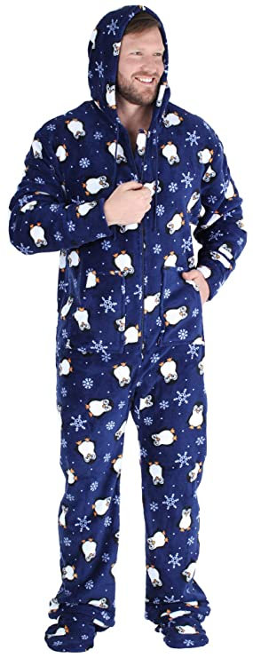 SleepytimePjs Men's Fleece Hooded Footed Onesie Pajamas, Navy Blue Penguins - (ST17-M-3019-LRG) best men's winter pajamas