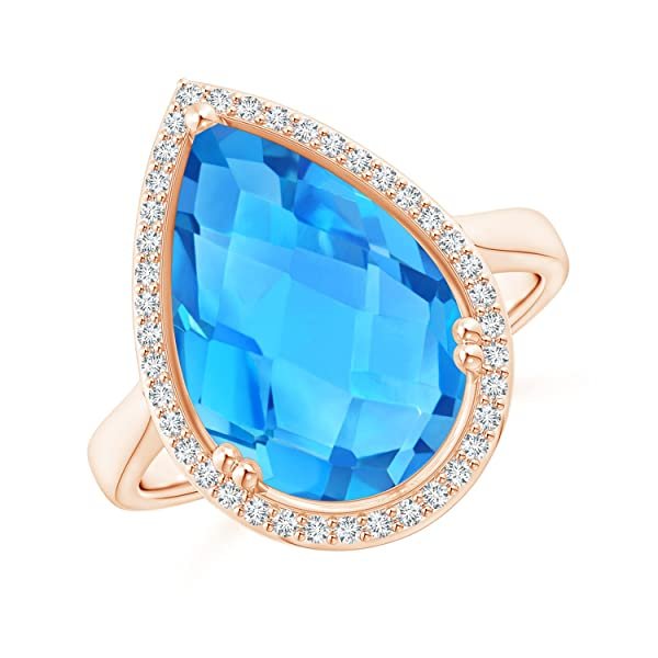 Angara Pear-Shaped Swiss Blue Topaz Cocktail Ring with Diamond Halo OkHJdCvgWk
