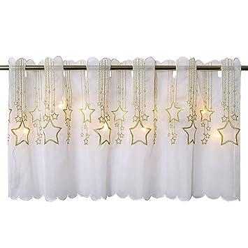 Delindo Lifestyle LED Scheibengardine STERNENREGEN Für Die Küche,  Beleuchtete Bistrogardine, 45x115 Cm, Moderne