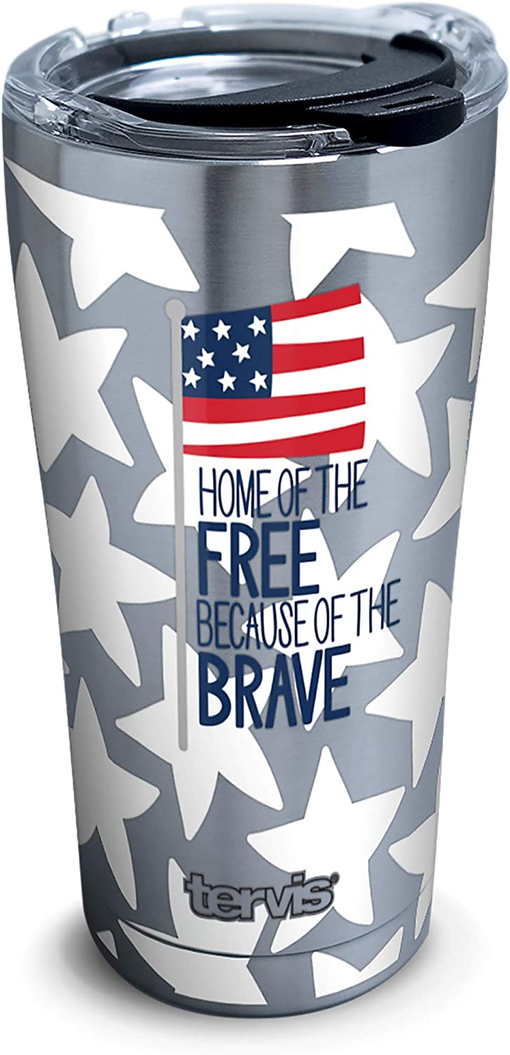 Tervis Coton Colors - Home of the Free Stainless Steel Insulated Tumbler with Clear and Black Hammer Lid, 20oz, Silver