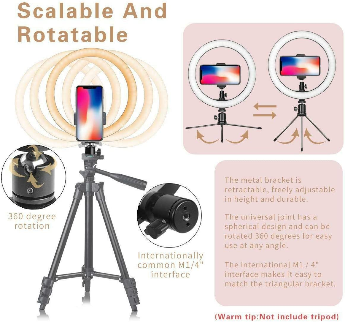 Ring Light with Stand Dimmable 3 Light Modes /& Selfie Desk Makeup Light 360 Rotary USB Powered Live Streaming Light with Phone Holder for Vlogging YouTube Video Shooting Selfie Photography