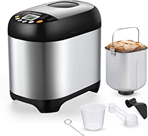SYCEES Automatic Digital Bread Machine - 2LB Bread Maker 19-in-1 Programmable Gluten Free,Nonstick Pan,3 Loaf Sizes 3 Crust Colors,15 Hours Delay Timer,1 Hour Keep Warm Portable for Home Kitchen