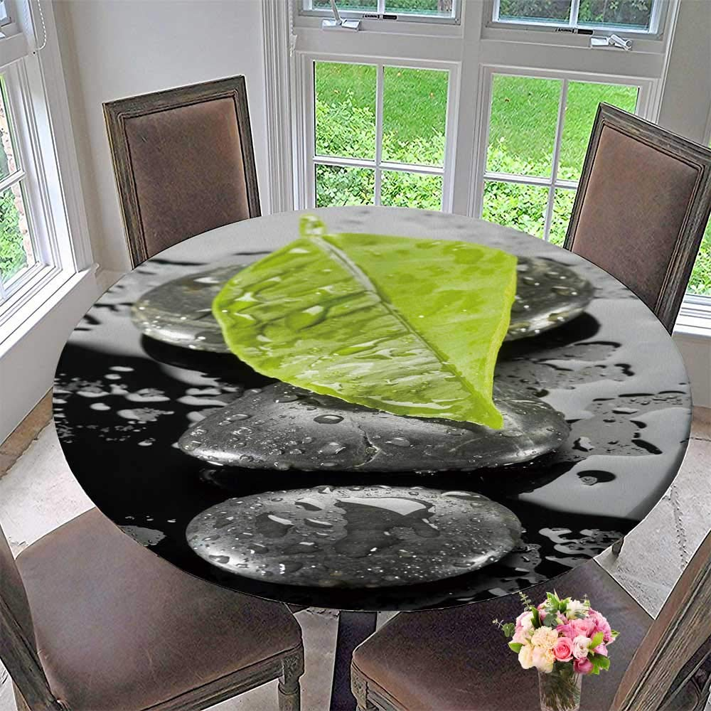 PINAFORE HOME Modern Simple Round Tablecloth spa Stone with Water Drops Decoration Washable 55''-59'' Round (Elastic Edge)