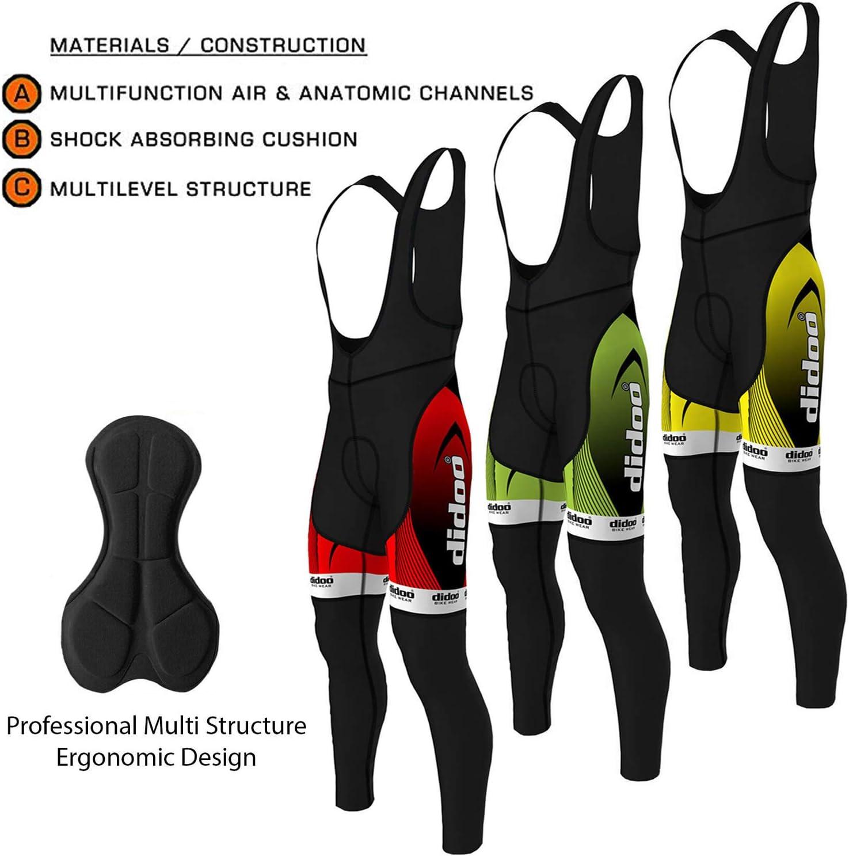 Didoo Homme Cyclisme Collants De Compression pantalon long hiver Thermal Rembourré Legging