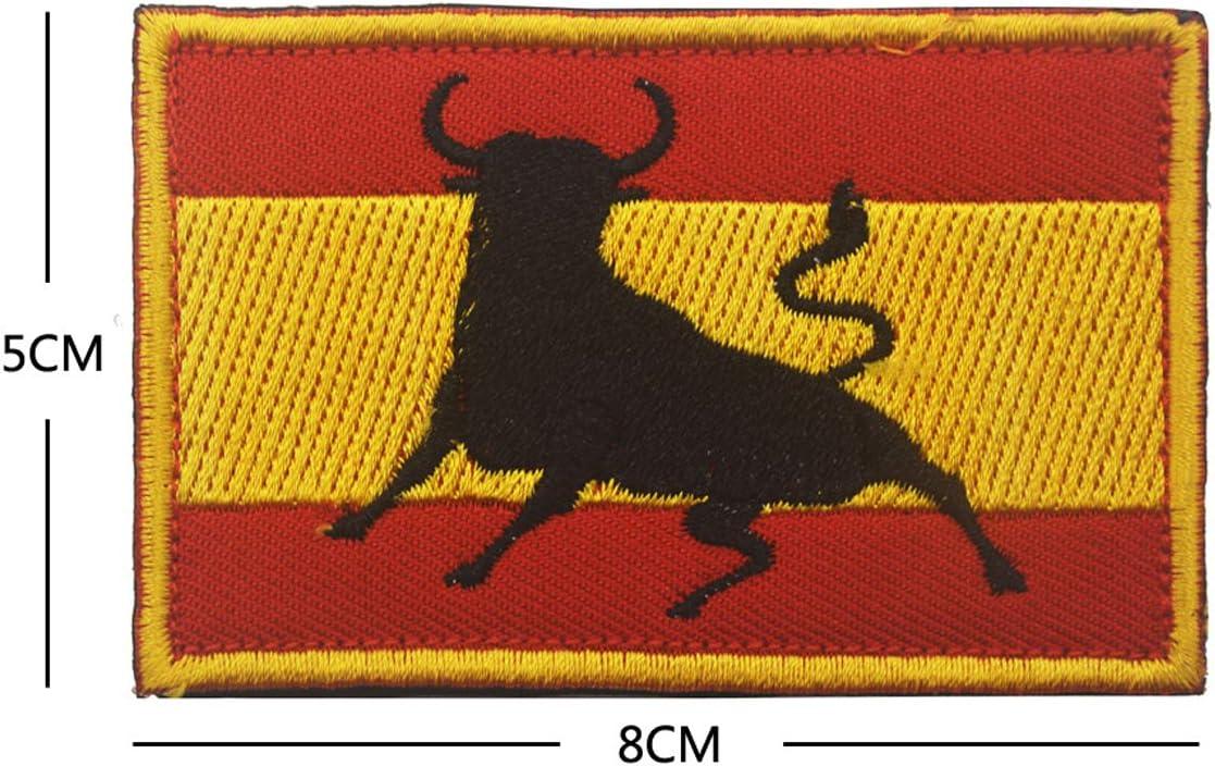 Parche bordado con bandera de España para coser 8 x 5 cm, diseño de militar y militar de la moral, parche de operador con gancho y bucle de respaldo (toro): Amazon.es: Hogar