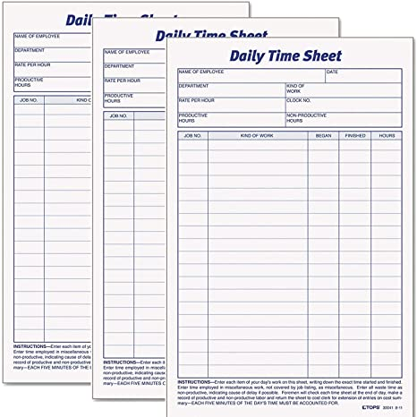image relating to Daily Sheet named Tops Every day Worker Year And Endeavor Sheet, 6 x 9.5 Inches, 100 Sheets for each Pad, 6 Pads/Pack