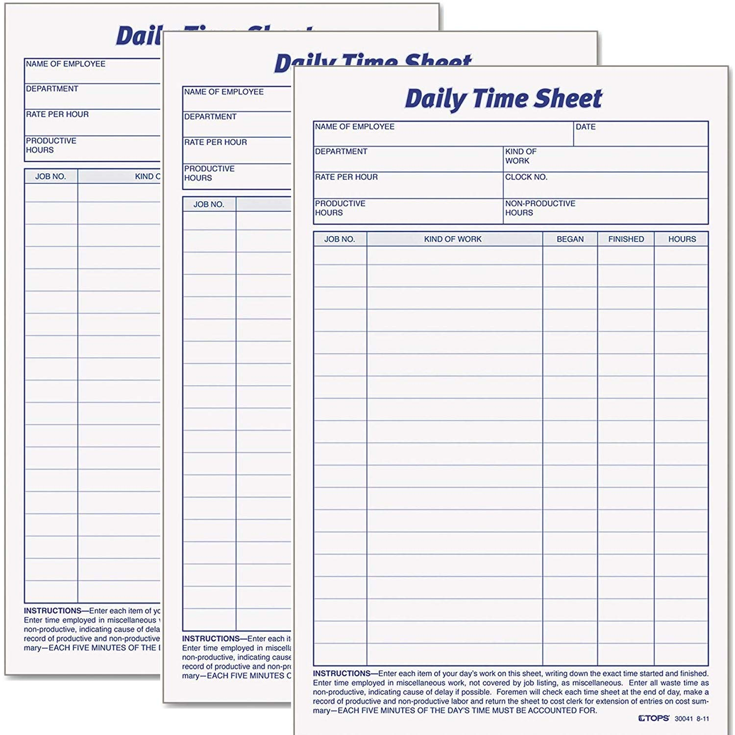 Tops Daily Employee Time And Job Sheet, 6 x 9.5 Inches, 100 Sheets per Pad, 6 Pads/Pack