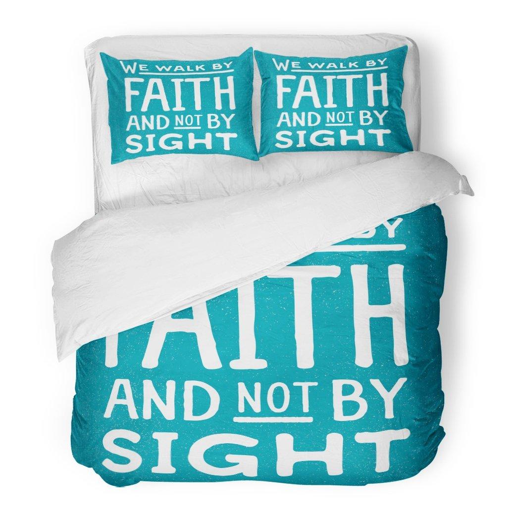 SanChic Duvet Cover Set We Walk Faith Not Sight Design Retro Christian Scripture Bible Verse on Colored Decorative Bedding Set Pillow Sham Twin Size