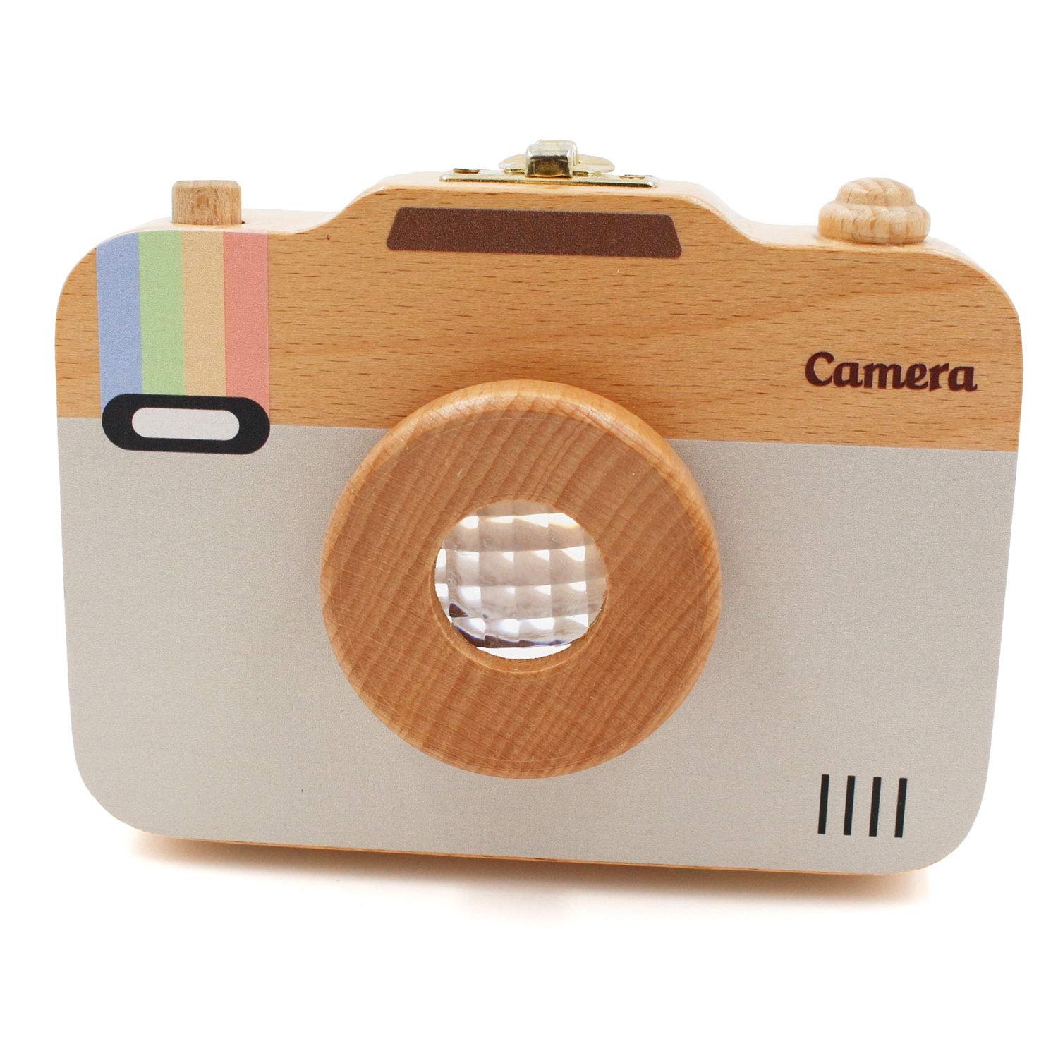 Children Camera Shape Tooth Wood Box Organizer Baby Save Milk Teeth Storage S