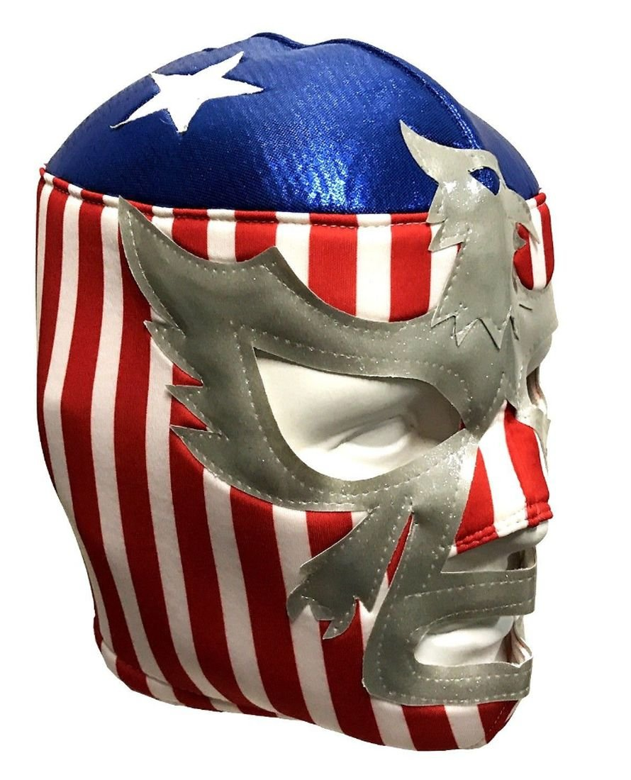 Del Mex Lycra Lucha Libre Adult Luchador Mexican Wrestling Mask Costume (Patriot America)