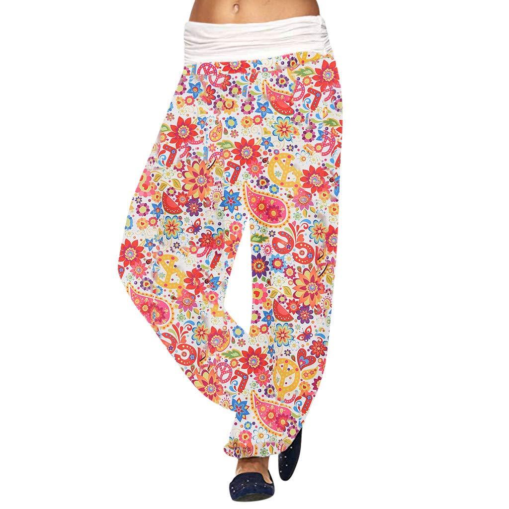 Claystyle Smocked Harem Pants Hippie Bohemian Casual Gypsy Print Yoga Baggy Boho(White,L)