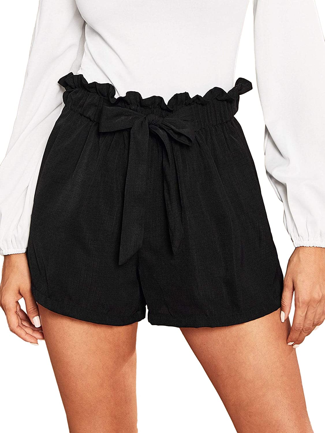 Black WDIRARA Women's Casual High Waisted Self Tie Ruffle Short Pants