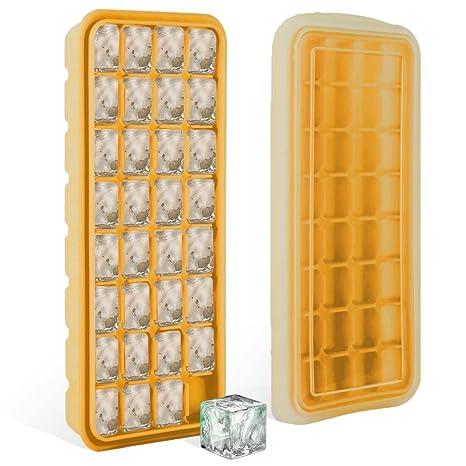 Bandejas de cubitos de hielo de silicona con tapa sellada - Bandejas de grado alimenticio con