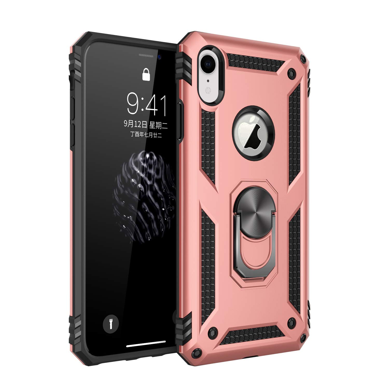 Military Grade Drop Impact for iPhone XR Case 360 Metal Rotating Ring Kickstand Holder Built-in Magnetic Car Mount Armor Heavy Duty Shockproof Cover for iPhone XR Phone Protection Case (Rose Gold) by Dishibei