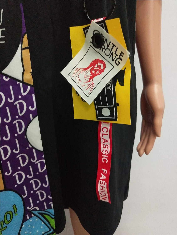 Womens Fashion Stylish Bat Sleeve Graffiti Printed Irregular Loose Tunic Tops Shirts Dress