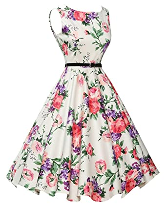 7b7d6bde9fac Vintage 1950s Floral Spring Garden Party Picnic Dress Party Cocktail Dress  at Amazon Women s Clothing store