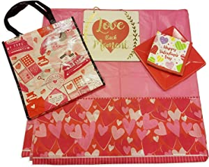 Valentines Decor and Party Supply Kit - Hanging Wall Decor with Heart Shapes, Paper Plate Serves 16, 16 Pcs Napkins with Hearts, 54