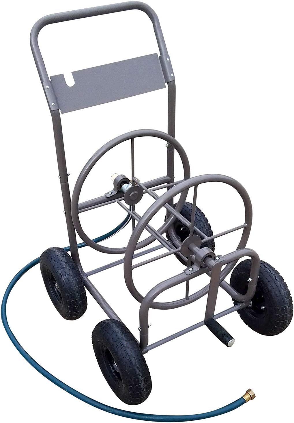 Centurion 658 Metal Hose Reel Cart with Capacity 5/8 Inch x 225 FT Hose, 10 Inches Pneumatic Tires, Includes 5 FT Leading Hose
