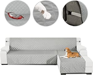 HDCAXKJ Sectional Couch Covers for Dogs 3-Pieces Water Resistant L Shape Sofa Cover Set Pet Friendly Sectional Slipcovers Living Room Non Slip L-Shaped Furniture Protector (Light Gray, Large)