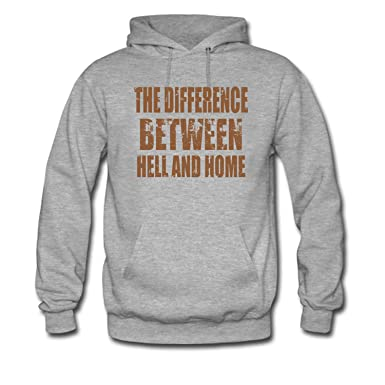 Fmeil Mens The Difference Between Hell And Home Funny Hoodie At