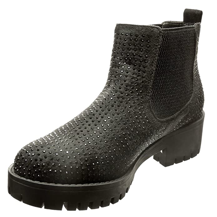 Damen Schuhe Stiefeletten Stiefel Strass Besetzte Schwarz 39 C4dNirZT