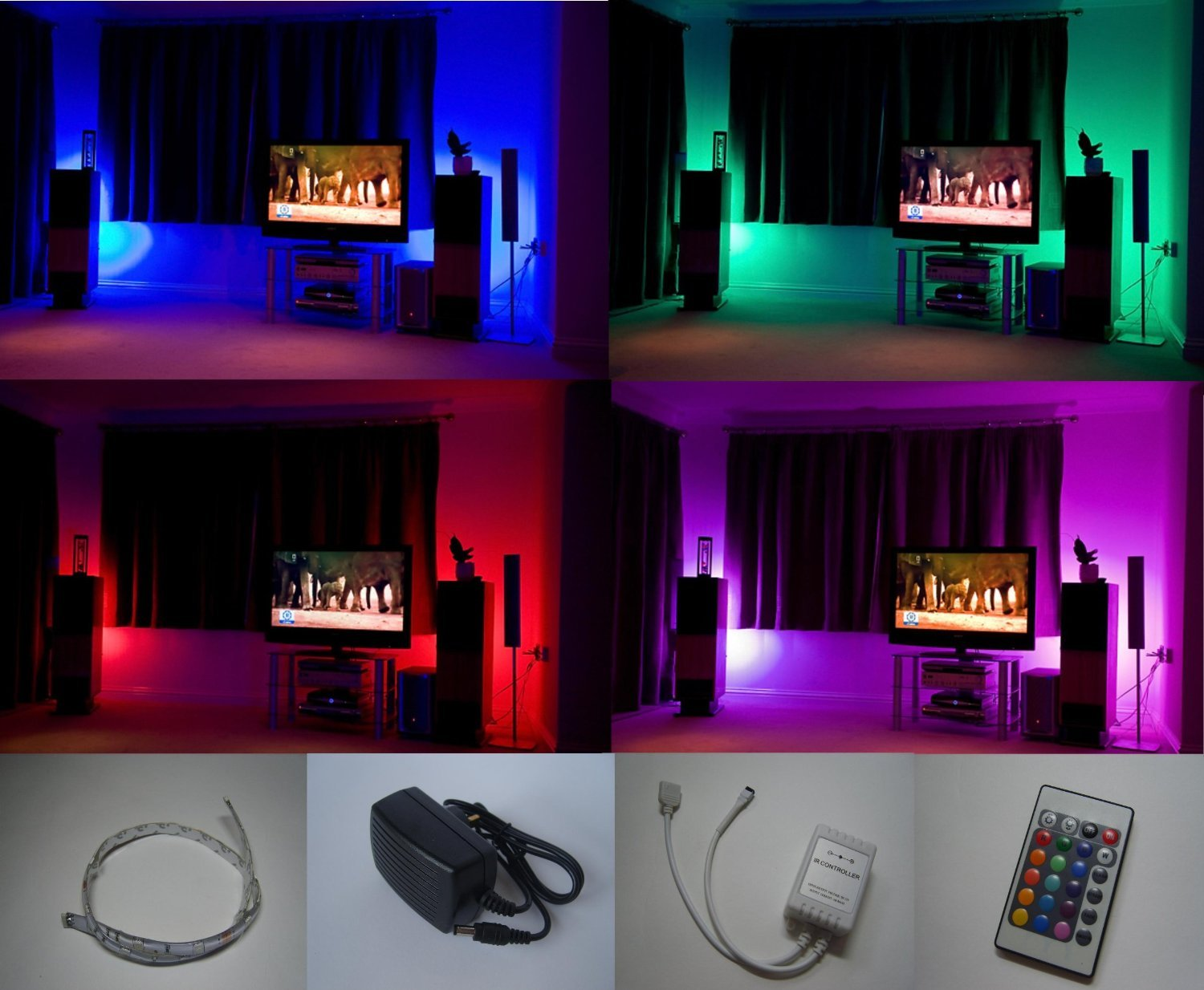 Colour changing led mood light kit with ir remote control 4 x 500mm colour changing led mood light kit with ir remote control 4 x 500mm led strips amazon kitchen home aloadofball Images