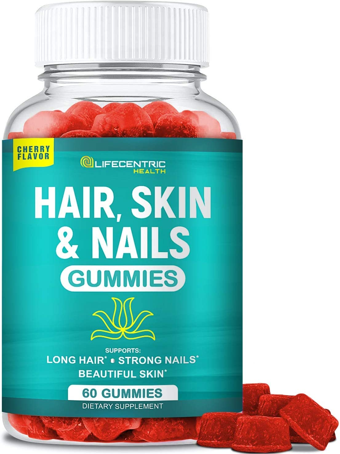 Hair Skin and Nails Gummies with High Potency Biotin 5000mcg | Tasty Cherry Hair Vitamins for Women Men & Kids | Lab Tested Gluten Free Hair Nail and Skin Vitamins Plus Biotin Gummies for Hair Growth