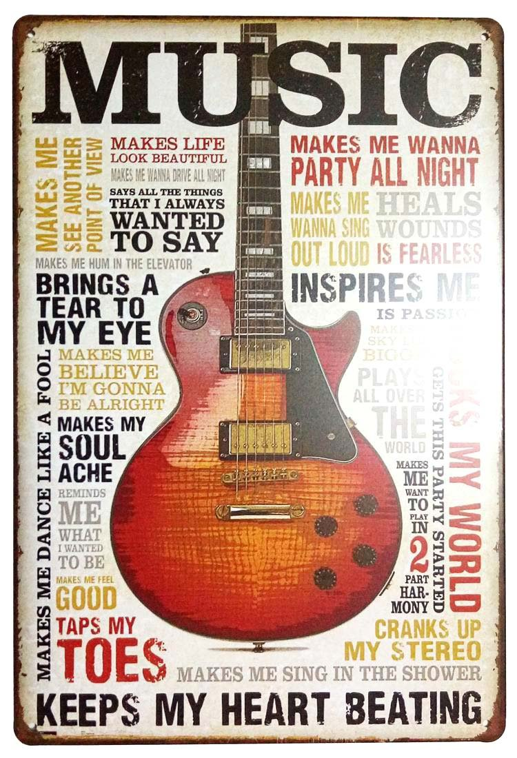 ERLOOD Music Inspires Me Retro Vintage Wall Decor Retro Metal Tin Sign Poster8 X 12